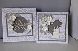 Kartka ślubna wraz z pudełkiem kwiaty serce