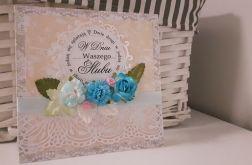 Kartka ślubna kwiaty z koronką handmade