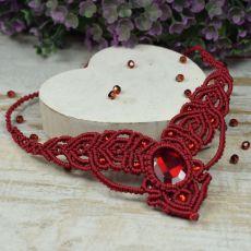 Bordowy, elegancki komplet biżuterii