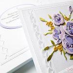 Kartka ŚLUBNA z fioletowymi różami - Biało-fioletowa pamiątka ślubu z różami