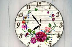 Zegar Ścienny Kwiaty Akwarela