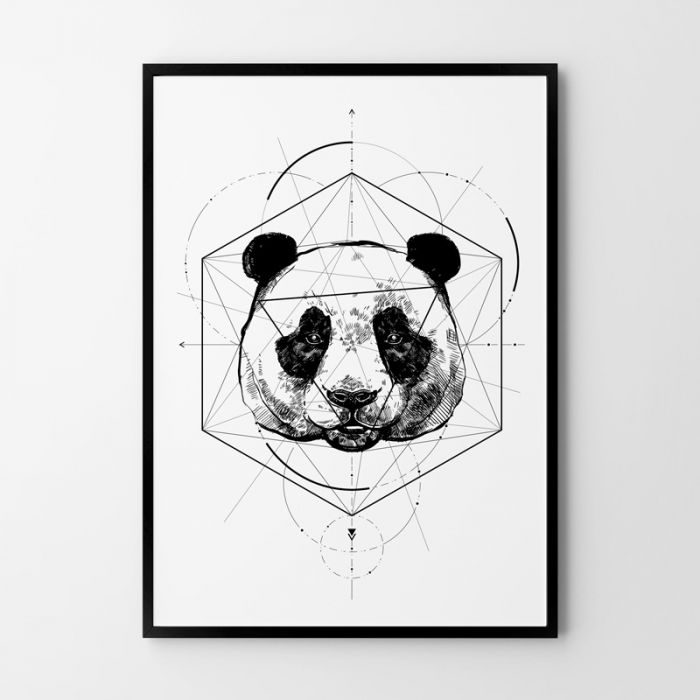 Plakat panda geometria 50x70 cm B2 -