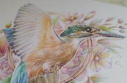 Zimorodek w kwiatach, ilustracja A4