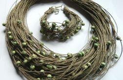 Len i koraliki, ekologiczny zestaw biżuterii