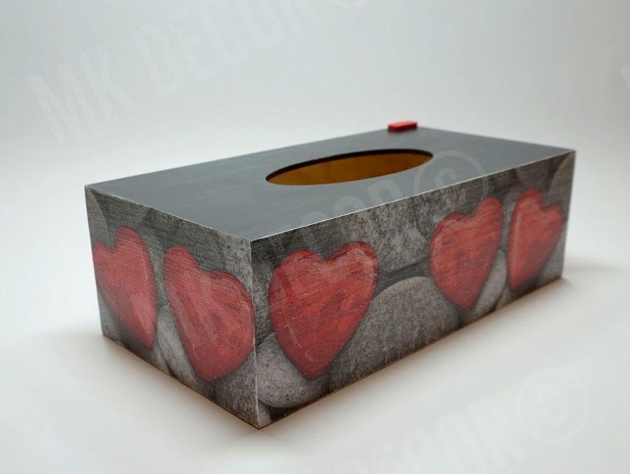 Pudełko prostokątne na chusteczki SERCA - pudełko na chusteczki