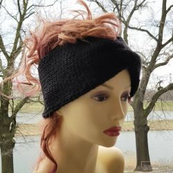 Czarna opaska turban