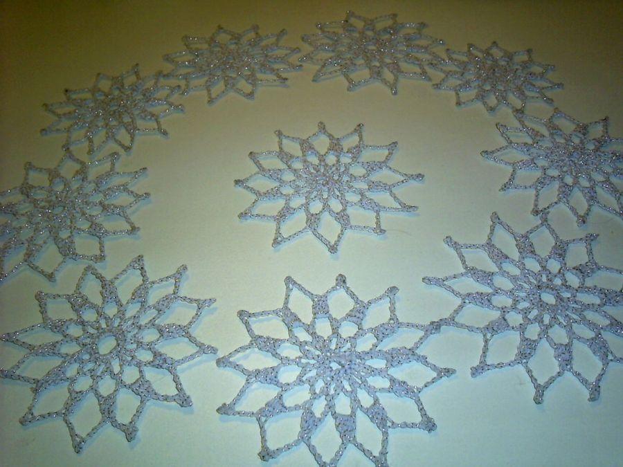 Śnieżynki srebrzyste gwiazdki