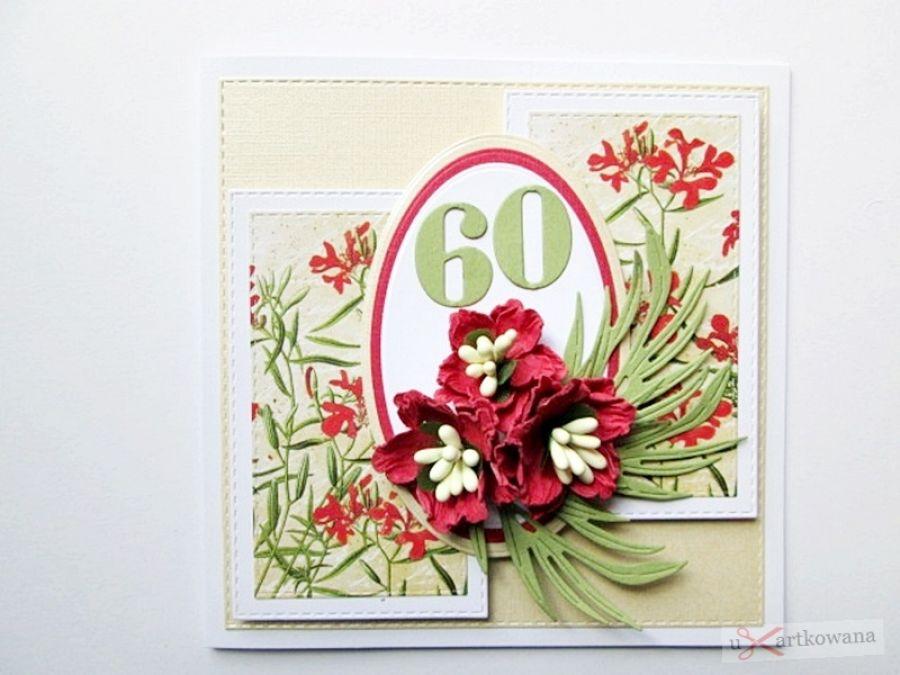 Kartka URODZINOWA kremowo-czerwona - Kartka Urodzinowa kremowo-czerwona