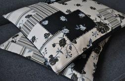 Poszewka - czarne żakardowe kwiaty