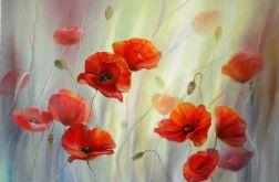 Czerwone Maki, ręcznie malowany, olej