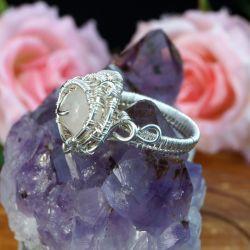 Srebrny pierścionek z kwarcem różowym wire