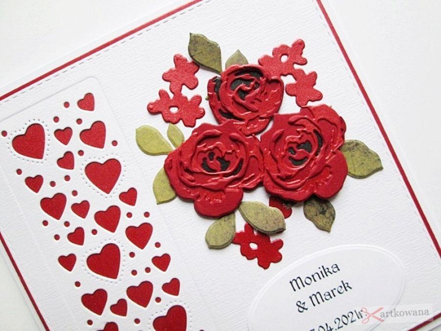 Kartka ŚLUBNA ciemnoczerwone róże - Kartka na ślub z czerwonymi różami