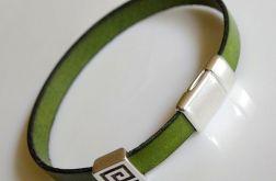minimalistyczna skórzana zielona #