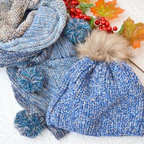 Komplet czapka i chusta w niebieskim i beżu