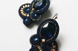 Granatowo-złote kolczyki z kryształkami
