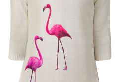 Sweterek z naszywkami flamingi