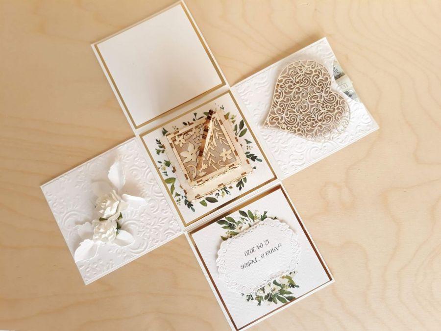 Kartka na ślub Exploding box ślubny #0006 - ślub kartka ślubna personalizowana, explosion box, eksplodujące pudełko