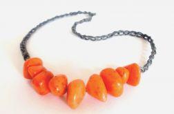Naszyjnik z koralikami - pomarańcz z szarym