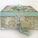 Szkatułka, pudełko vintage z aniołkiem 2 -