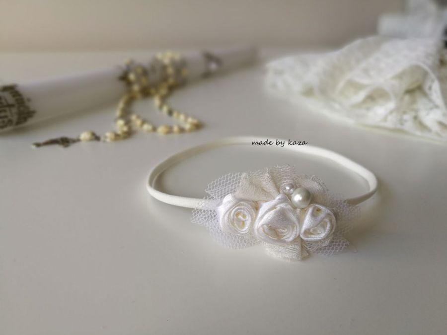 Opaska biała ivory na chrzest tiul