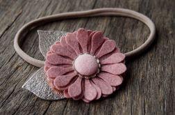 Opaska do włosów kwiat cameo pink