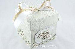 Pudełko, exploding box na ślub, ecru