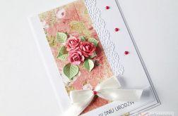 Kartka URODZINOWA z malinowymi różami