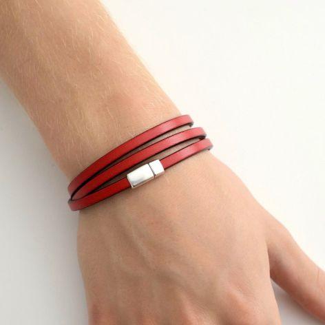 Unisex bransoletka czerwona skórzana 5mm