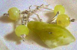Jadeit i agat - delikatny zestaw w srebrze