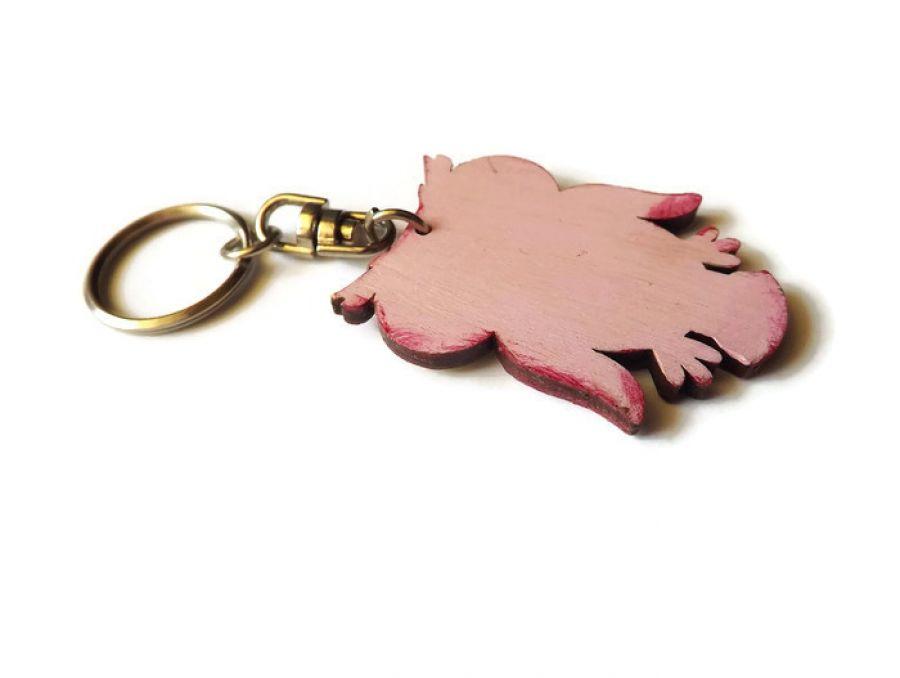 Breloczek Sowa Dziurawa - różowa - tył breloczka