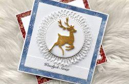 Kartka Bożonarodzeniowa błękitna z jelonkiem