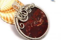 Agat, srebrny wisior z Agatem crazy lace red