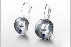 Kolczyki - Biały wilk - bigle angielskie