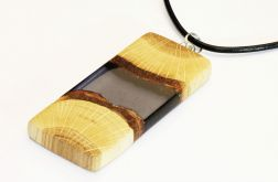 Wisior żywica i drewno prostokąt szary