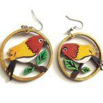 Kolczyki drewniane, malowane - Ptaki - ptaki w żółci i czerwieni