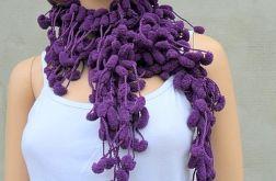 pom-pon scarf  - fiolet