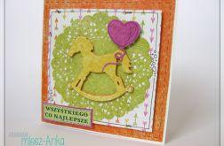 Kolorowa KARTKA z konikiem na URODZINY 1