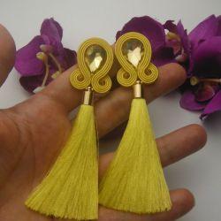 Soutache sutasz kolczyki żółte cytrynowe long