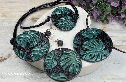 Komplet biżuterii -liście monstery
