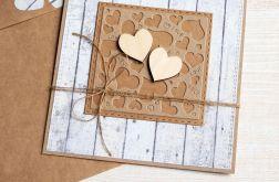 kartka ślubna lub miłosna : serduszka