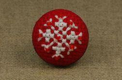 Pierścionek śnieżynka haft krzyżykowy