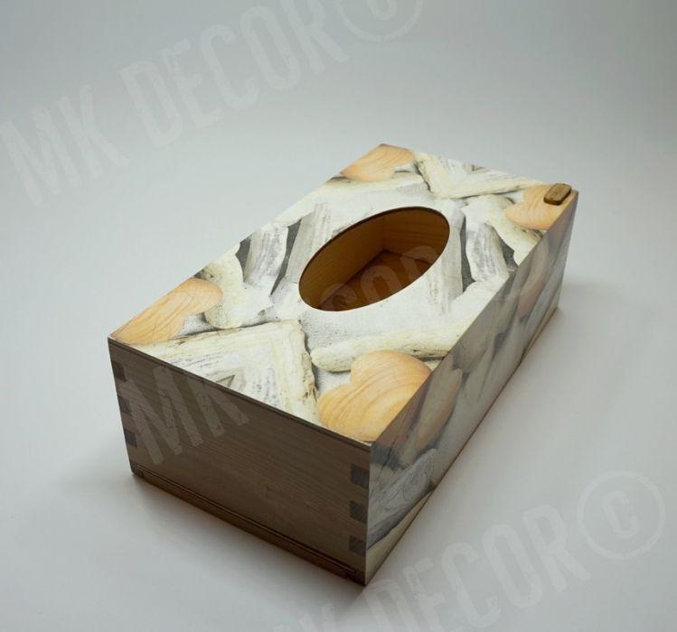 Pudełko prostokątne na chusteczki - serca - pudełko