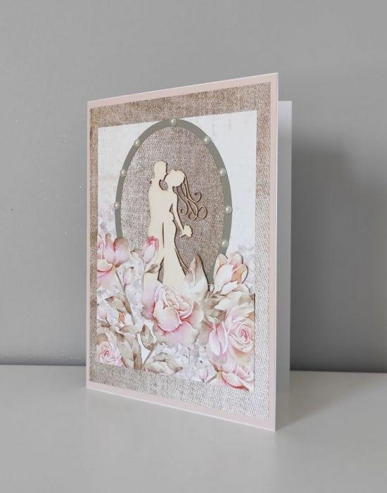 Kartka na ślub ślubna z kwiatami duża A5 -