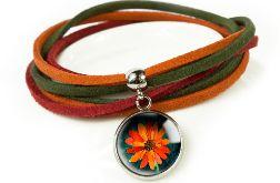 Orange flower bransoletka z rzemieniami