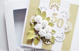 Kartka ROCZNICA ŚLUBU z białymi różami