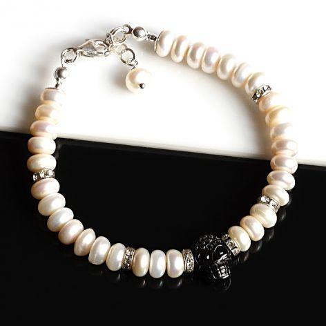 Czaszka w perłach - bransoletka