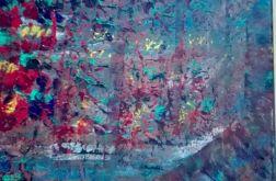 Obraz abstrakcja wielokolorowy 40x40