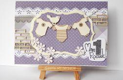 Kartka na roczek z praniem fioletowa