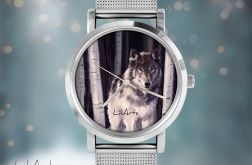 Zegarek, bransoletka - Szary wilk