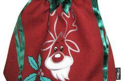 Świąteczny woreczek z reniferem.